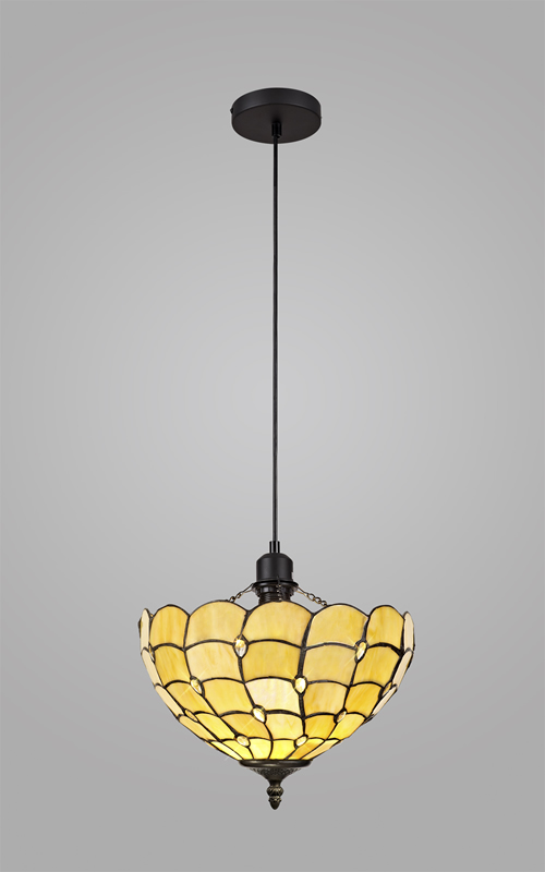 Lichfield Lighting Chatterton 1 Light Uplighter Pendant E27 With 30cm Tiffany Shade, Beige/Clear Crystal/Black photo 2