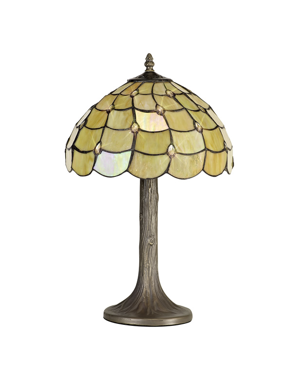 Lichfield Lighting Chatterton 1 Light Tree Like Table Lamp E27 With 30cm Tiffany Shade, Beige/Clear Crystal/Aged Antique Brass photo 1