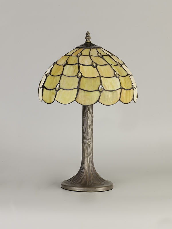 Lichfield Lighting Chatterton 1 Light Tree Like Table Lamp E27 With 30cm Tiffany Shade, Beige/Clear Crystal/Aged Antique Brass photo 3