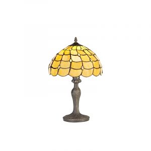 Lichfield Lighting Chatterton 1 Light Curved Table Lamp E27 With 30cm Tiffany Shade, Beige/Clear Crystal/Aged Antique Brass photo 1