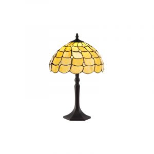 Lichfield Lighting Chatterton 1 Light Octagonal Table Lamp E27 With 30cm Tiffany Shade, Beige/Clear Crystal/Aged Antique Brass photo 1
