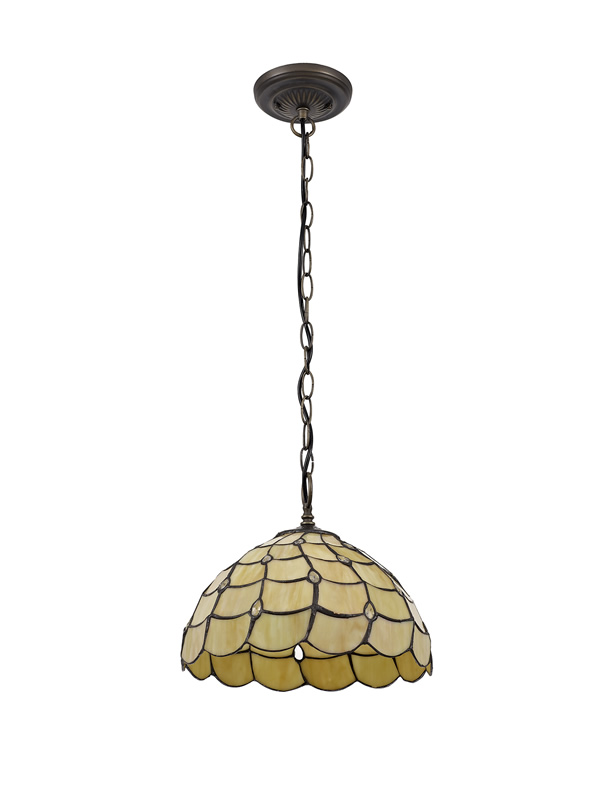 Lichfield Lighting Chatterton 1 Light Downlighter Pendant E27 With 30cm Tiffany Shade, Beige/Clear Crystal/Aged Antique Brass photo 1