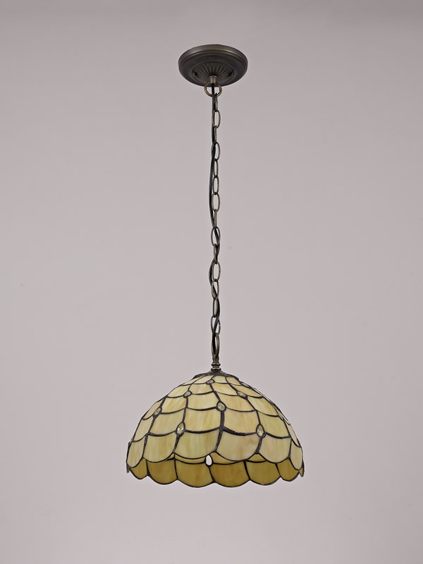 Lichfield Lighting Chatterton 1 Light Downlighter Pendant E27 With 30cm Tiffany Shade, Beige/Clear Crystal/Aged Antique Brass photo 3