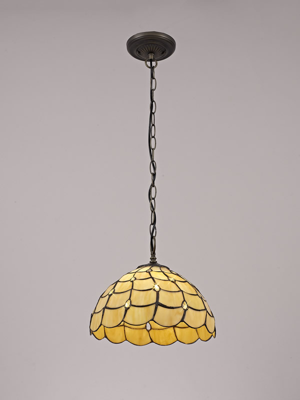 Lichfield Lighting Chatterton 1 Light Downlighter Pendant E27 With 30cm Tiffany Shade, Beige/Clear Crystal/Aged Antique Brass photo 2