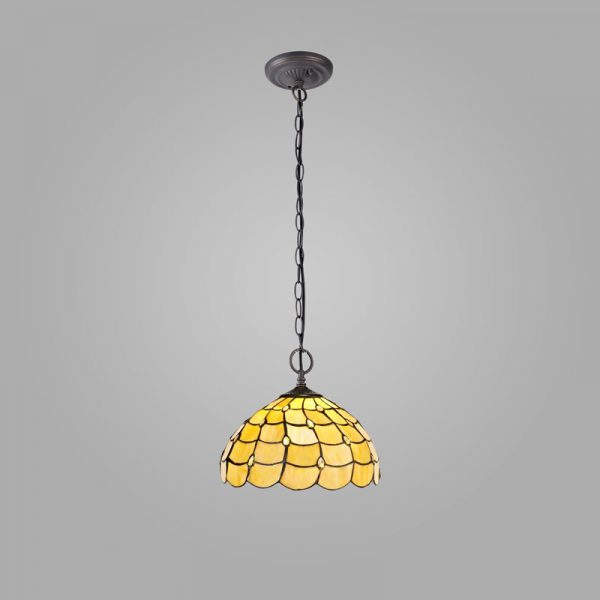 Lichfield Lighting Chatterton 2 Light Downlighter Pendant E27 With 30cm Tiffany Shade, Beige/Clear Crystal/Aged Antique Brass photo 2
