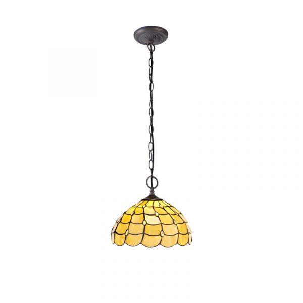 Lichfield Lighting Chatterton 2 Light Downlighter Pendant E27 With 30cm Tiffany Shade, Beige/Clear Crystal/Aged Antique Brass photo 1