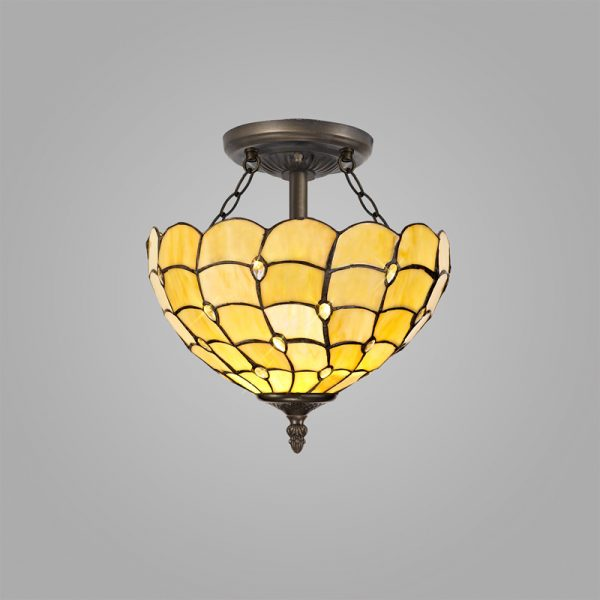 Lichfield Lighting Chatterton 2 Light Semi Ceiling E27 With 30cm Tiffany Shade, Beige/Clear Crystal/Aged Antique Brass photo 2