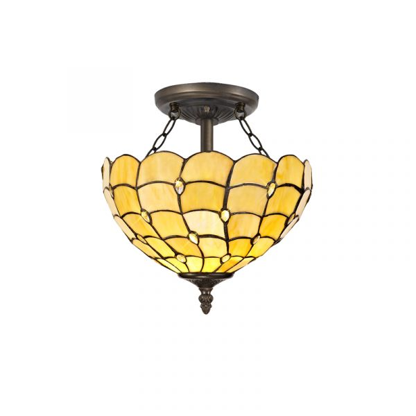 Lichfield Lighting Chatterton 2 Light Semi Ceiling E27 With 30cm Tiffany Shade, Beige/Clear Crystal/Aged Antique Brass photo 1