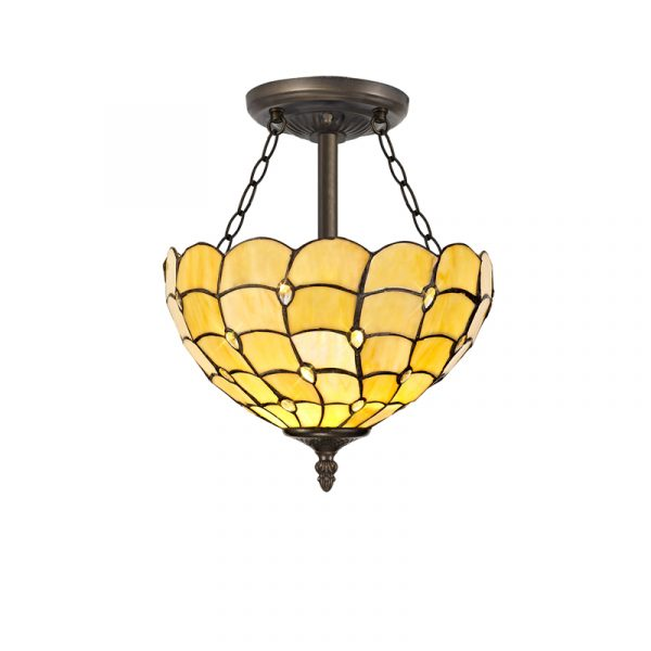 Lichfield Lighting Chatterton 3 Light Semi Ceiling E27 With 30cm Tiffany Shade, Beige/Clear Crystal/Aged Antique Brass photo 1