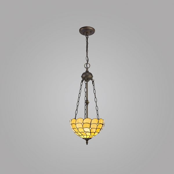 Lichfield Lighting Chatterton 2 Light Uplighter Pendant E27 With 30cm Tiffany Shade, Beige/Clear Crystal/Aged Antique Brass photo 2