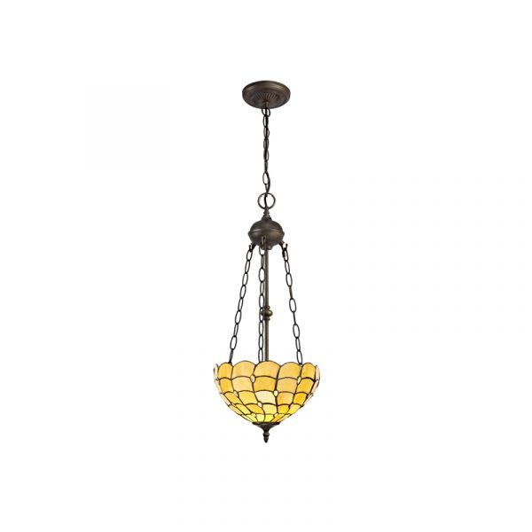 Lichfield Lighting Chatterton 2 Light Uplighter Pendant E27 With 30cm Tiffany Shade, Beige/Clear Crystal/Aged Antique Brass photo 1