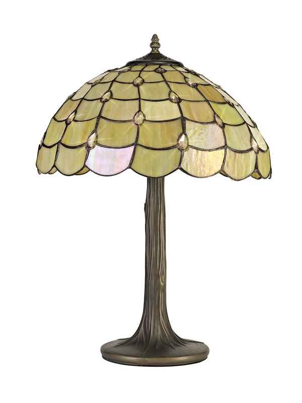 Lichfield Lighting Chatterton 2 Light Tree Like Table Lamp E27 With 40cm Tiffany Shade, Beige/Clear Crystal/Aged Antique Brass photo 3