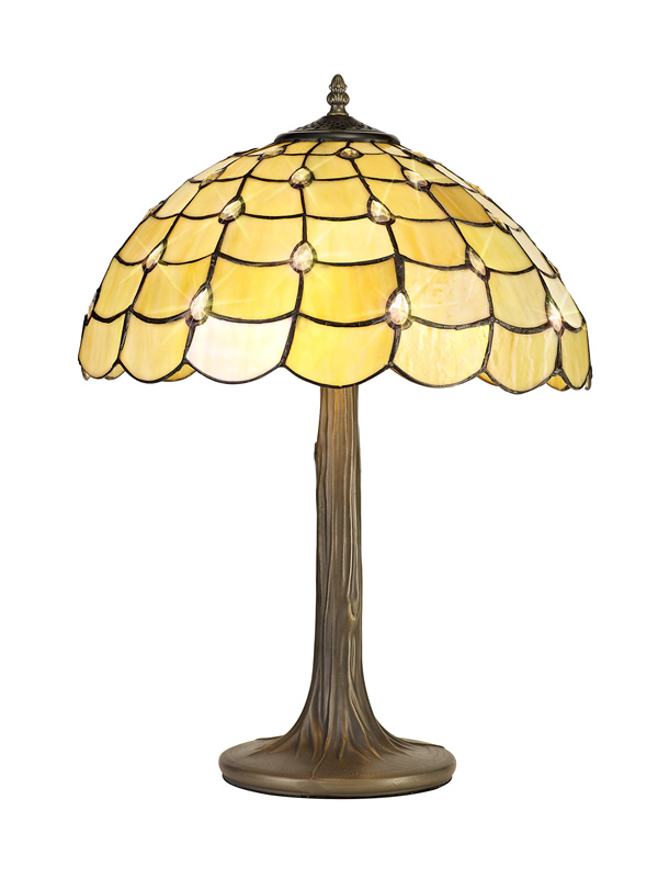 Lichfield Lighting Chatterton 2 Light Tree Like Table Lamp E27 With 40cm Tiffany Shade, Beige/Clear Crystal/Aged Antique Brass photo 1