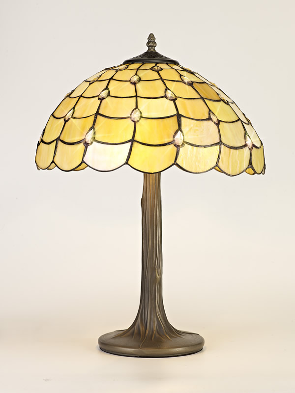 Lichfield Lighting Chatterton 2 Light Tree Like Table Lamp E27 With 40cm Tiffany Shade, Beige/Clear Crystal/Aged Antique Brass photo 2