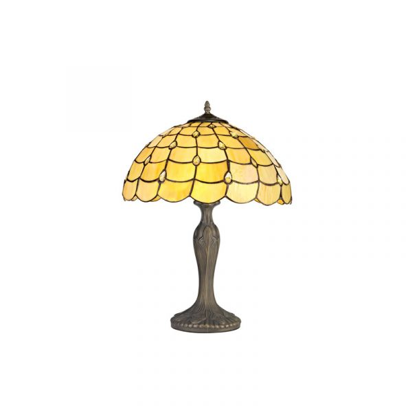 Lichfield Lighting Chatterton 2 Light Curved Table Lamp E27 With 40cm Tiffany Shade, Beige/Clear Crystal/Aged Antique Brass Photo 1