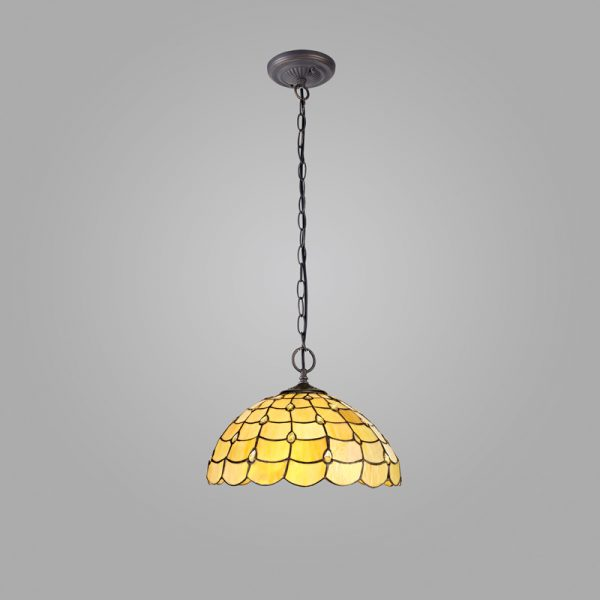 Lichfield Lighting Chatterton 2 Light Downlighter Pendant E27 With 40cm Tiffany Shade, Beige/Clear Crystal/Aged Antique Brass photo 2