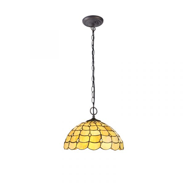 Lichfield Lighting Chatterton 2 Light Downlighter Pendant E27 With 40cm Tiffany Shade, Beige/Clear Crystal/Aged Antique Brass photo 1