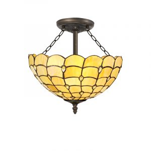 Lichfield Lighting Chatterton 3 Light Semi Ceiling E27 With 40cm Tiffany Shade, Beige/Clear Crystal/Aged Antique Brass photo 1