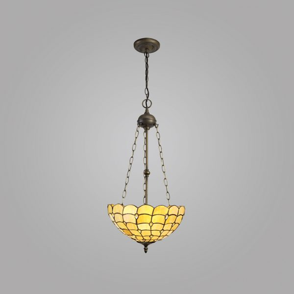 Lichfield Lighting Chatterton 3 Light Uplighter Pendant E27 With 40cm Tiffany Shade, Beige/Clear Crystal/Aged Antique Brass photo 2