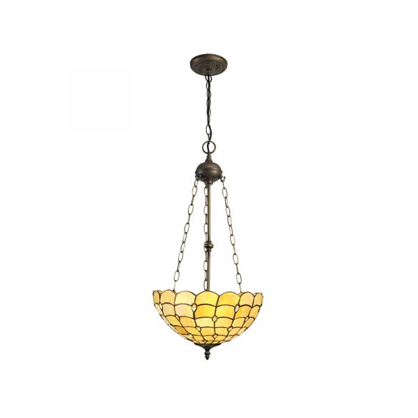 Lichfield Lighting Chatterton 3 Light Uplighter Pendant E27 With 40cm Tiffany Shade, Beige/Clear Crystal/Aged Antique Brass photo 1