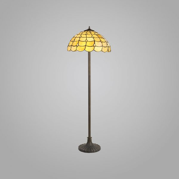 Lichfield Lighting Chatterton 2 Light Stepped Design Floor Lamp E27 With 40cm Tiffany Shade, Beige/Clear Crystal/Aged Antique Brass photo 2