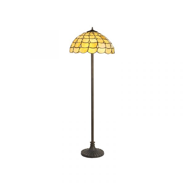 Lichfield Lighting Chatterton 2 Light Stepped Design Floor Lamp E27 With 40cm Tiffany Shade, Beige/Clear Crystal/Aged Antique Brass photo 1