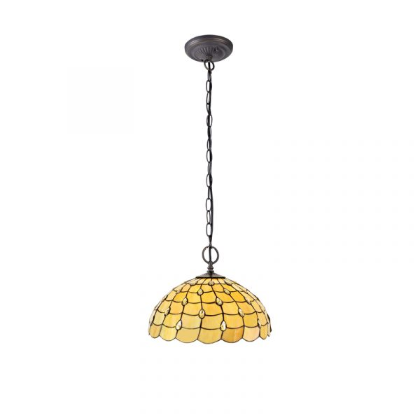 Lichfield Lighting Chatterton 2 Light Downlighter Pendant E27 With 50cm Tiffany Shade, Beige/Clear Crystal/Aged Antique Brass photo 1