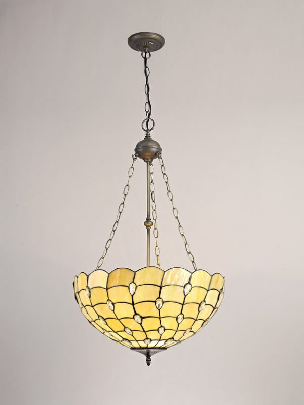 Lichfield Lighting Chatterton 3 Light Uplighter Pendant E27 With 50cm Tiffany Shade, Beige/Clear Crystal/Aged Antique Brass photo 2