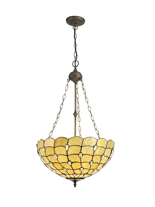 Lichfield Lighting Chatterton 3 Light Uplighter Pendant E27 With 50cm Tiffany Shade, Beige/Clear Crystal/Aged Antique Brass photo 1