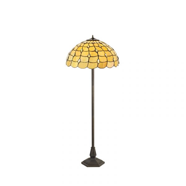 Lichfield Lighting Chatterton 2 Light Octagonal Floor Lamp E27 With 50cm Tiffany Shade, Beige/Clear Crystal/Aged Antique Brass photo 1
