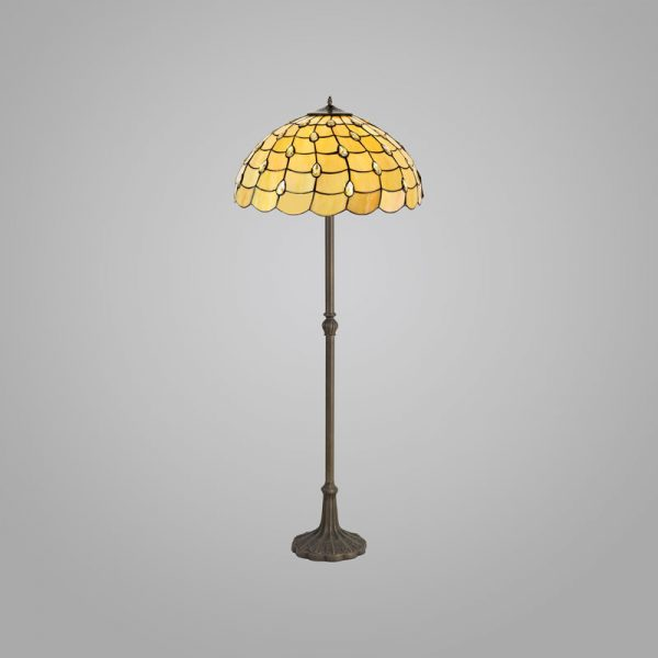 Lichfield Lighting Chatterton 2 Light Leaf Design Floor Lamp E27 With 50cm Tiffany Shade, Beige/Clear Crystal/Aged Antique Brass photo 2