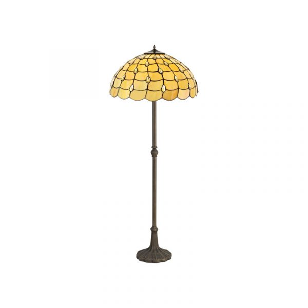 Lichfield Lighting Chatterton 2 Light Leaf Design Floor Lamp E27 With 50cm Tiffany Shade, Beige/Clear Crystal/Aged Antique Brass photo 1