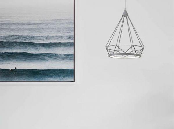 Lichfield Lighting Elawfords Large Diamond Pendant, 1 x 10W LED, 3700K, Matt Grey, 3yrs Warranty photo 2