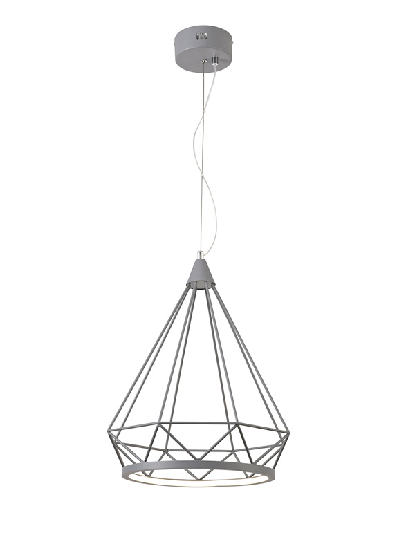 Lichfield Lighting Elawfords Large Diamond Pendant, 1 x 10W LED, 3700K, Matt Grey, 3yrs Warranty photo 1