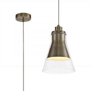 Lichfield Lighting Harwood Pendant, 1 x E27, Antique Brass/Clear Glass photo 1