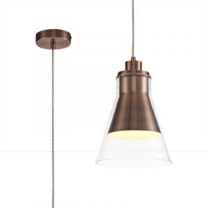 Lichfield Lighting Harwood Pendant, 1 x E27, Antique Copper/Clear Glass photo 1