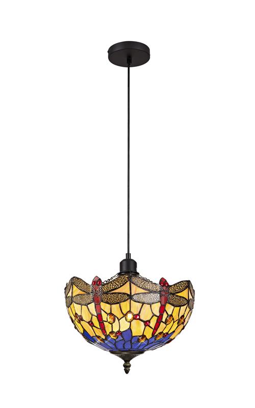 Lichfield Lighting Havefield 1 Light Uplighter Pendant E27 With 30cm Tiffany Shade, Blue/Orange/Crystal/Black photo 1