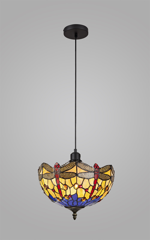 Lichfield Lighting Havefield 1 Light Uplighter Pendant E27 With 30cm Tiffany Shade, Blue/Orange/Crystal/Black photo 2