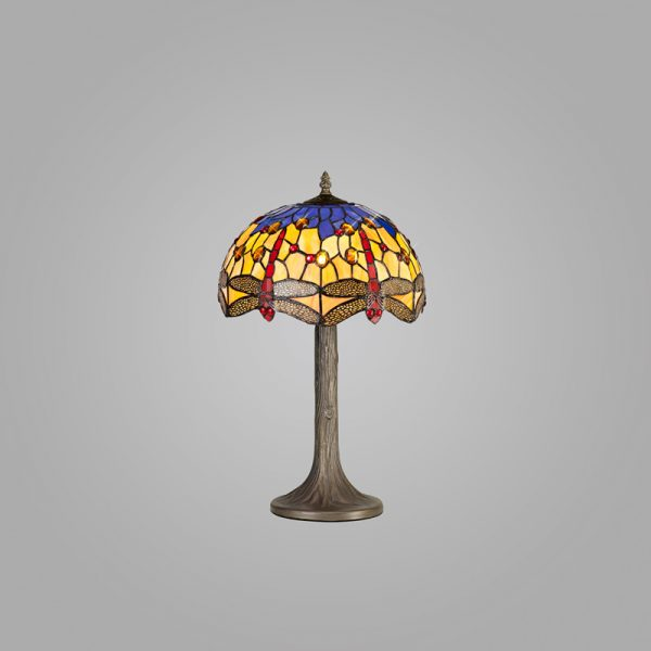 Lichfield Lighting Havefield 1 Light Tree Like Table Lamp E27 With 30cm Tiffany Shade, Blue/Orange/Crystal/Aged Antique Brass photo 2