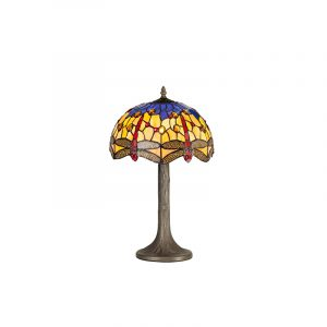 Lichfield Lighting Havefield 1 Light Tree Like Table Lamp E27 With 30cm Tiffany Shade, Blue/Orange/Crystal/Aged Antique Brass photo 1