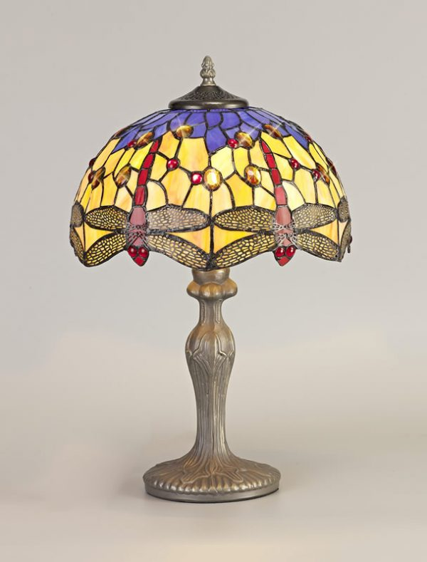 Lichfield Lighting Havefield 1 Light Curved Table Lamp E27 With 30cm Tiffany Shade, Blue/Orange/Crystal/Aged Antique Brass photo 2