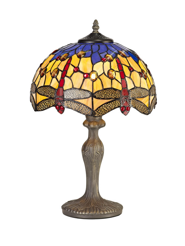 Lichfield Lighting Havefield 1 Light Curved Table Lamp E27 With 30cm Tiffany Shade, Blue/Orange/Crystal/Aged Antique Brass photo 1