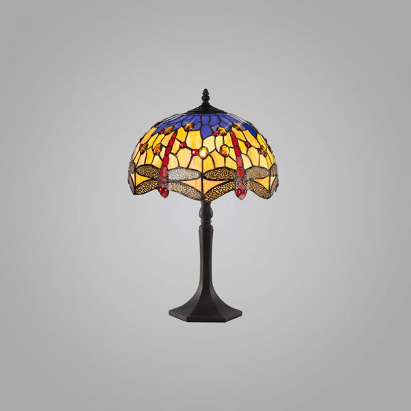 Lichfield Lighting Havefield 1 Light Octagonal Table Lamp E27 With 30cm Tiffany Shade, Blue/Orange/Crystal/Aged Antique Brass photo 2