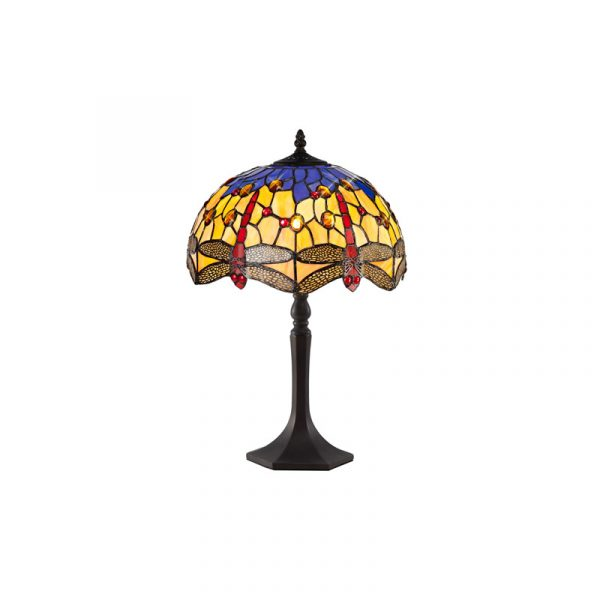 Lichfield Lighting Havefield 1 Light Octagonal Table Lamp E27 With 30cm Tiffany Shade, Blue/Orange/Crystal/Aged Antique Brass photo 1