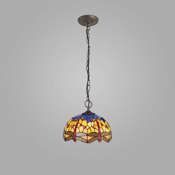 Lichfield Lighting Havefield 3 Light Downlighter Pendant E27 With 30cm Tiffany Shade, Blue/Orange/Crystal/Aged Antique Brass photo 2