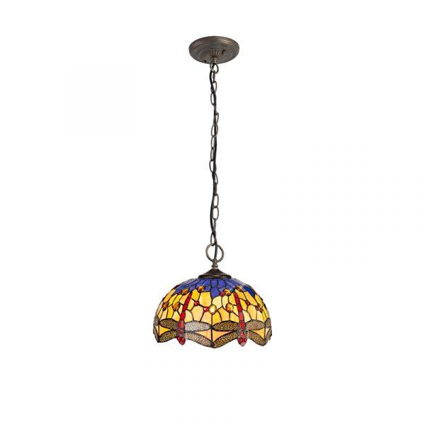 Lichfield Lighting Havefield 3 Light Downlighter Pendant E27 With 30cm Tiffany Shade, Blue/Orange/Crystal/Aged Antique Brass photo 1