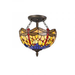 Lichfield Lighting Havefield 2 Light Semi Ceiling E27 With 30cm Tiffany Shade, Blue/Orange/Crystal/Aged Antique Brass photo 1