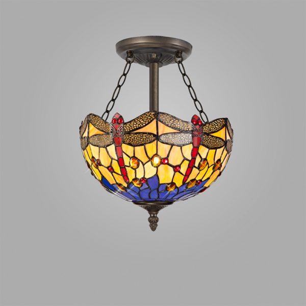 Lichfield Lighting Havefield 3 Light Semi Ceiling E27 With 30cm Tiffany Shade, Blue/Orange/Crystal/Aged Antique Brass photo 2