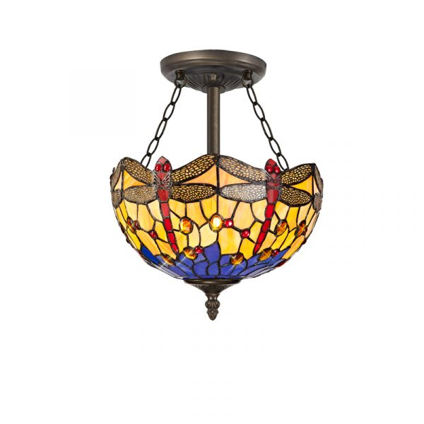 Lichfield Lighting Havefield 3 Light Semi Ceiling E27 With 30cm Tiffany Shade, Blue/Orange/Crystal/Aged Antique Brass photo 1