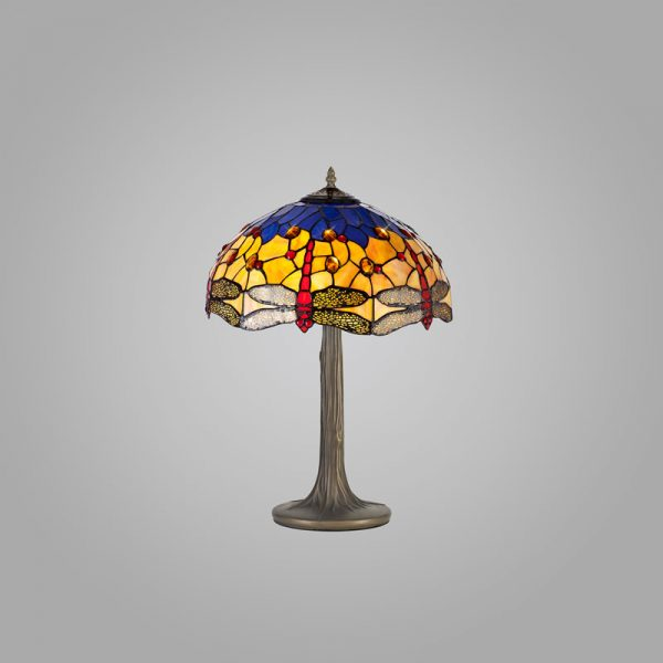 Lichfield Lighting Havefield 2 Light Tree Like Table Lamp E27 With 40cm Tiffany Shade, Blue/Orange/Crystal/Aged Antique Brass photo 2